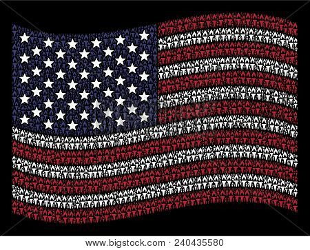 Fire Torch Icons Are Grouped Into Waving United States Flag Stylization On A Dark Background. Vector