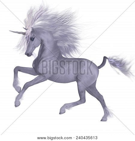 White Unicorn Prancing 3d Illustration - A Unicorn Is A Mythical Creature That Has A White Coat, Clo