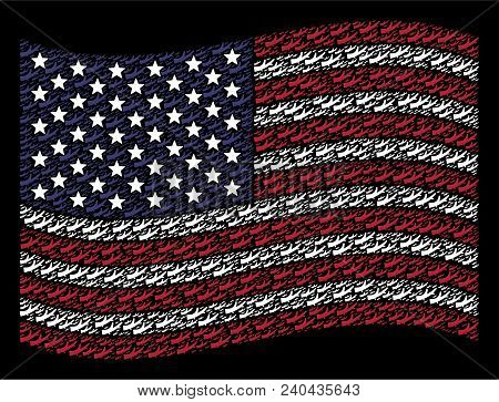 Firewood Icons Are Grouped Into Waving American Flag Stylization On A Dark Background. Vector Compos