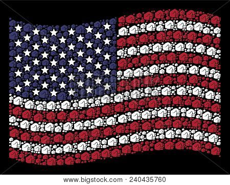 Fist Symbols Are Combined Into Waving United States Flag Stylization On A Dark Background. Vector Co