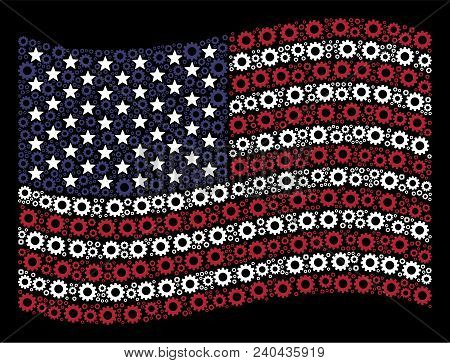 Gear Items Are Grouped Into Waving United States Flag Stylization On A Dark Background. Vector Compo