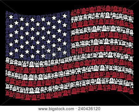 Grave Items Are Combined Into Waving Usa Flag Stylization On A Dark Background. Vector Collage Of Am