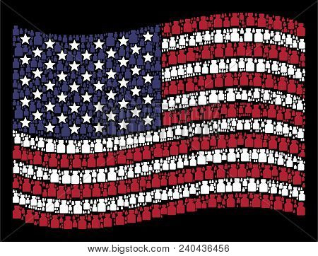 Liquid Bottle Icons Are Composed Into Waving Usa Flag Mosaic On A Dark Background. Vector Compositio