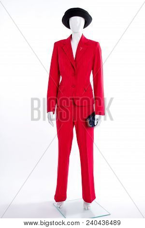 Red Formal Style Suit For Ladies. Women Red Blazer, Trousers And Black Accessories. Elegant Garment