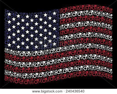 Mars Symbol Symbols Are Organized Into Waving American Flag Stylization On A Dark Background. Vector
