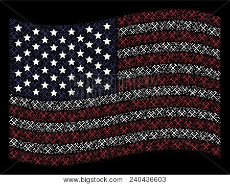 Mining Hammers Pictograms Are Combined Into Waving United States Flag Stylization On A Dark Backgrou