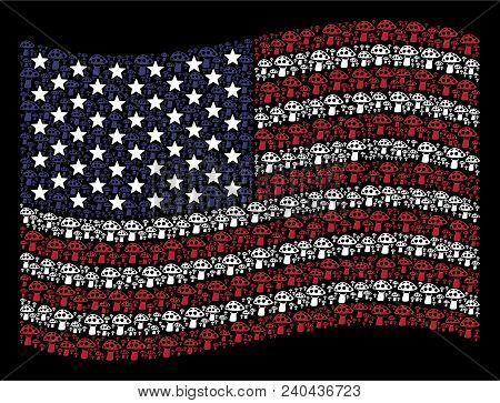 Mushroom Symbols Are Organized Into Waving Usa Flag Stylization On A Dark Background. Vector Concept