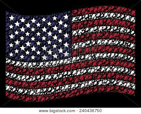 Oak Leaf Icons Are Organized Into Waving American Flag Abstraction On A Dark Background. Vector Coll