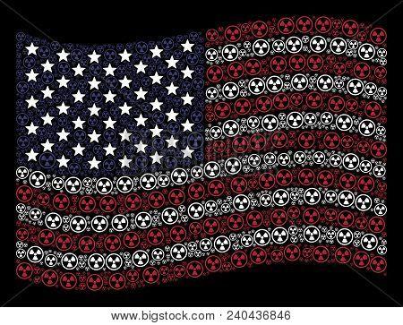 Radioactive Symbols Are Composed Into Waving United States Flag Stylization On A Dark Background. Ve