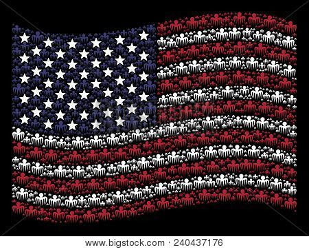Spectre Octopus Items Are Grouped Into Waving United States Flag Stylization On A Dark Background. V