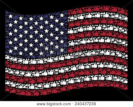 Thumb Up Pictograms Are Composed Into Waving United States Flag Stylization On A Dark Background. Ve
