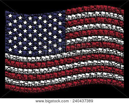 Waving Flag Symbols Are Arranged Into Waving Usa Flag Mosaic On A Dark Background. Vector Compositio