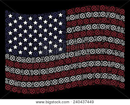 Clock Gear Symbols Are Combined Into Waving United States Flag Stylization On A Dark Background. Vec