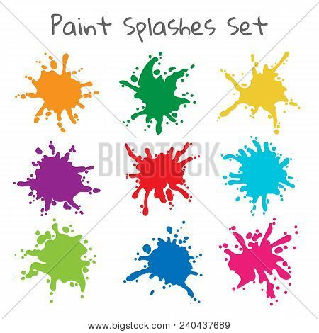 Paint Splatters. Vector Colorful Painted Splashes Or Color Stains, Inkblot Blob Shapes Isolated On W