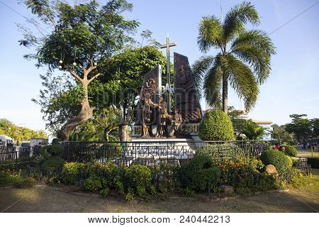 Cebu City, The Philippines - March 22, 2018: Christian Missionaries Monument In Historic Park. Spani