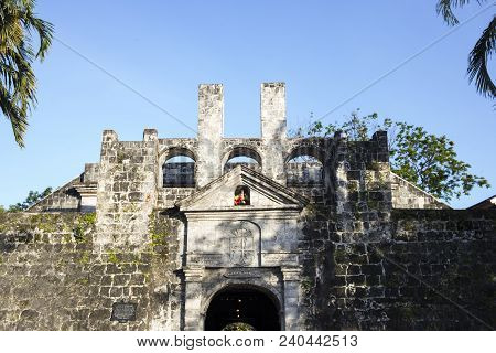 Fort San Pedro In Ceby City, Philippines, Entrance View. Fort San Pedro Entrance Gate. Oldest Histor
