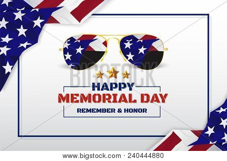 Happy Memorial Day Background Design With Usa Flag And Sunglasses. Vector Illustration