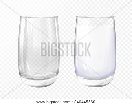 Vector Realistic Glass Empty And Milk Cup On Transparent Background. 3d Glassware For Water, Juice,