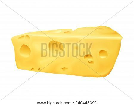 Cheese 3d Vector Illustration. Emmental Or Cheddar And Edam Cheese Triangle Lump With Holes Isolated