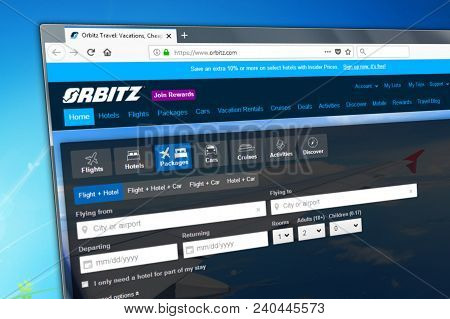 Novosibirsk, Russia - May 13, 2018 - Homepage Of The Official Website For Orbitz - The Travel And Ho