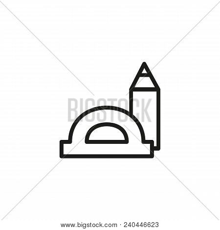 Icon Of Protractor And Pencil. Drawing, Drafting, Architecture. Education Concept. Can Be Used For T
