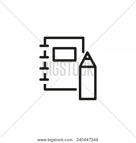 Icon Of Workbook And Pencil. Supply, Desk, University. School Concept. Can Be Used For Topics Like R