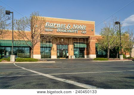 Fort Collins, CO, USA - April 30, 2018:  Barnes & Noble, Inc. is the the largest retail bookseller in the United States, and the leading retailer of content, digital media and educational products.