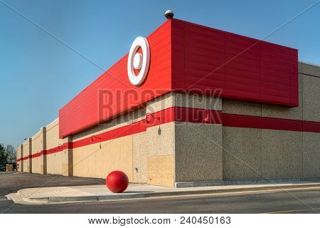 Fort Collins, CO, USA - April 30, 2018: A corner of Target store. Target is the second-largest discount store retailer in the United States.