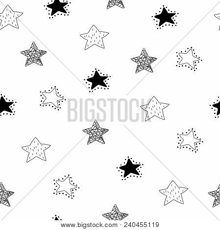 Scandinavian Style Abstract Seamless Pattern With Stars In Black And White Colour. Vector Print For