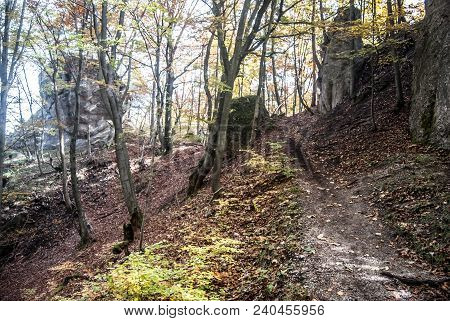 Autumn Sulovske Skaly Mountains In Slovakia With Rock Formations, Hiking Trail And Forest With Falle