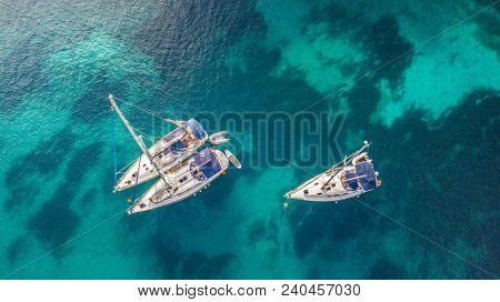 Aerial view of sailling boats. Outdoor water sports, yachting.