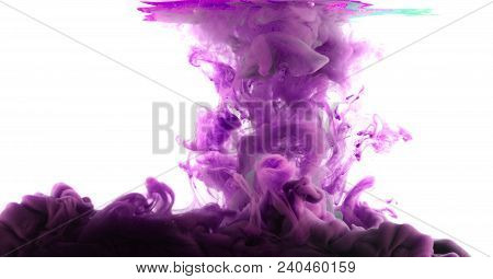 Ink In Water. Abstract Background. . Ink Swirling In Water.  Ink In Water Isolated On White Backgrou