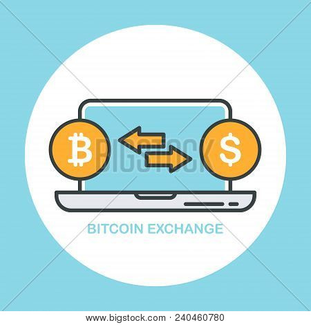 Bitcoin To Dollar Currency Exchange. Cryptocurrency Technology, Bitcoin Exchange, Financial Transfer