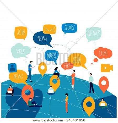 Social Network, Networking, People Connected, Global Network Flat Vector Illustration Design. Worldw