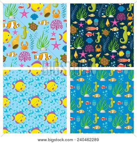 Aquatic Funny Sea Animals Underwater Creatures Cartoon Characters Shell Aquarium Seamless Pattern Ba