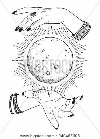 Hand Drawn Full Moon With Rays Of Light In Hands Of Fortune Teller Line Art And Dot Work. Boho Chic