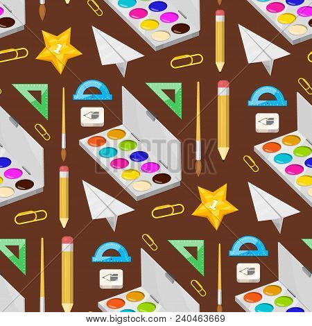 School Supplies Stationery Educational Seamless Pattern Background Equipment Learning Office Accesso