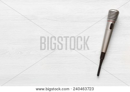 Audio Recording Studio Desk Table. Karaoke Mock Up. Song Lyrics. Microphone On White Table Backgroun