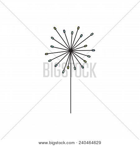 Vector Thin Line Icon, Flower On A Stem. Elegant Logo Template. Design Element For Garden Or Flower