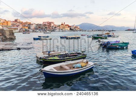 Torre Del Greco, Naples, Mediterranean Italy - Panoramic View From The Port Of Blue Sea, Boats And C