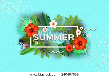 Red Hibiscus Flower. Tropical Summer Day.summer Holidays On Sky Blue. Palm Leaves, Plants, Flowers F
