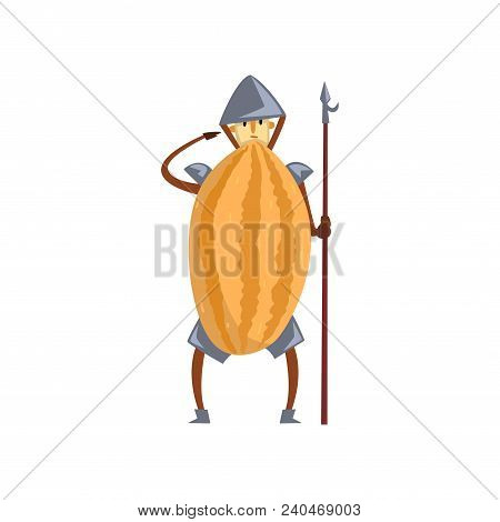 Brave Warrior Melon Cartoon Character With Spear, Man In Fruit Costume Vector Illustration Isolated