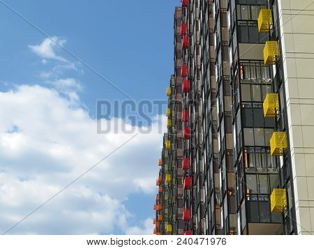 High-rise New Residential Building On The Background Of Cloudy Blue Sky. High Rise Apartments In Mos