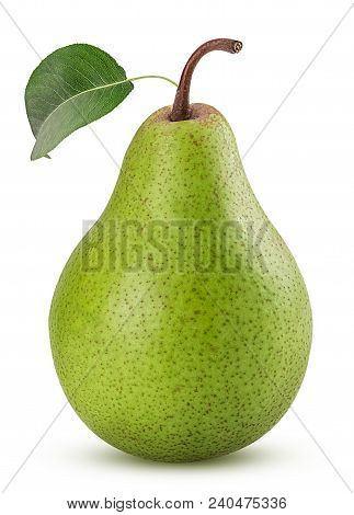 Fresh Pears ,whole Green Fruit With Leaf Isolated On White Background. Full Depth Of Field.