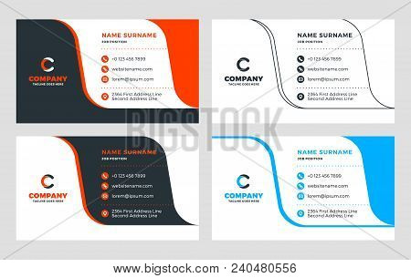 Creative Business Card Template. Flat Design Vector Illustration. Stationery Design. 4 Color Combina