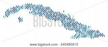 Population Cuba Map. Demography Vector Collage Of Cuba Map Made Of People Elements. Abstract Social
