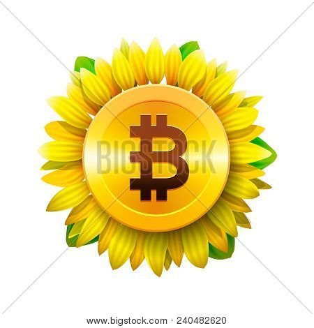 Bitcoin Flower Concept Of Virtual Money For Bitcoin And Blockchain. Sunflower Icon, Bitcoin Business