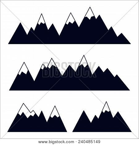 Mountain Silhouettes With Snowy Peaks. Vector Collection Of High Mountain Ridges. Black Icons On Whi