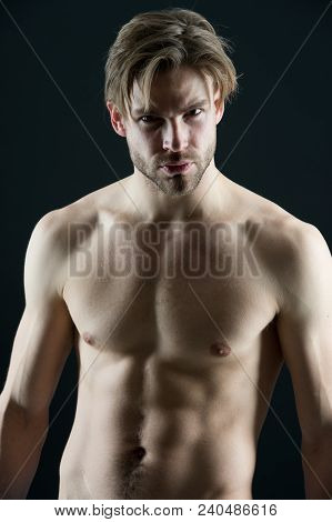Bodybuilder With Sexy Chest And Belly. Bearded Man Athlete With Fit Torso. Sportsman Show Muscles. W