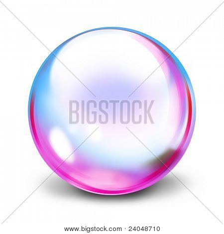 Multi colored transparent sphere